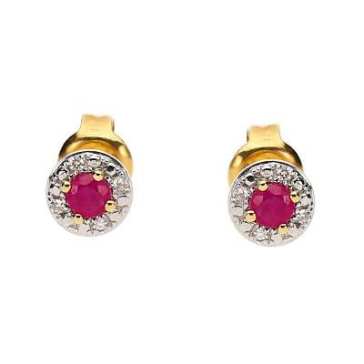 Kolczyki złote z rubinami 0,18 ct i diamentami 0,02 ct Si/H