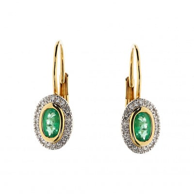 Kolczyki złote ze szmaragdami 0,41 ct i diamentami 0,09 ct Si/H