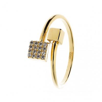 Pierścionek z żółtego złota z cyrkoniami