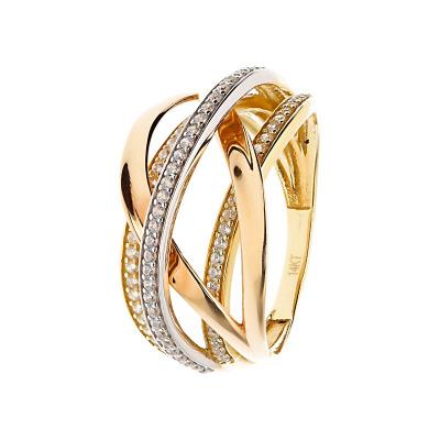 Pierścionek w trzech kolorach złota z cyrkoniami