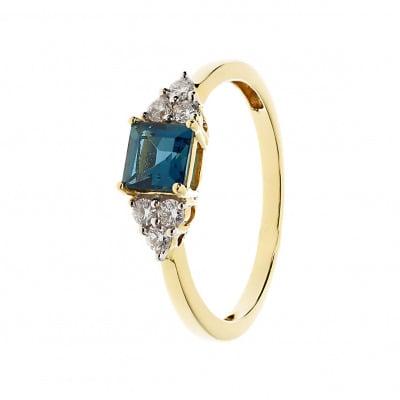 Pierścionek złoty z topazem london blue i brylantami 0,20 ct