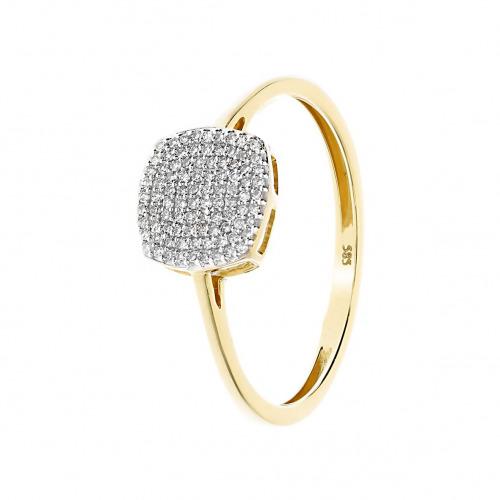 Pierścionek złoty z diamentami 0,12 ct Si/H, I