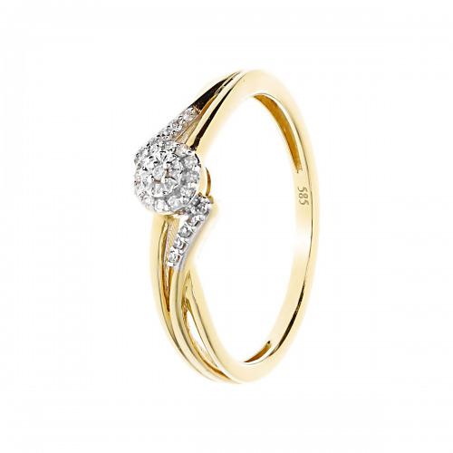 Pierścionek złoty z diamentami 0,07 ct Si/H, I