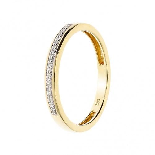 Pierścionek złoty z diamentami 0,04 ct Si/H, I