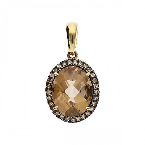 Przywieszka złota z kwarcem dymnym 2,30 ct i diamentami 0,11 ct
