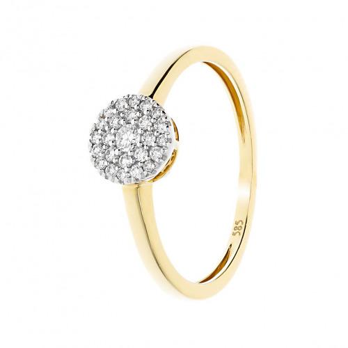 Pierścionek złoty z diamentami 0,15 ct Si/H, I