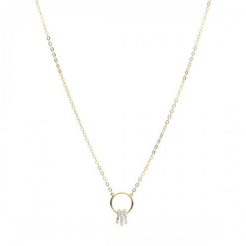 Naszyjnik złoty z diamentami 0,03 ct Si/H, I