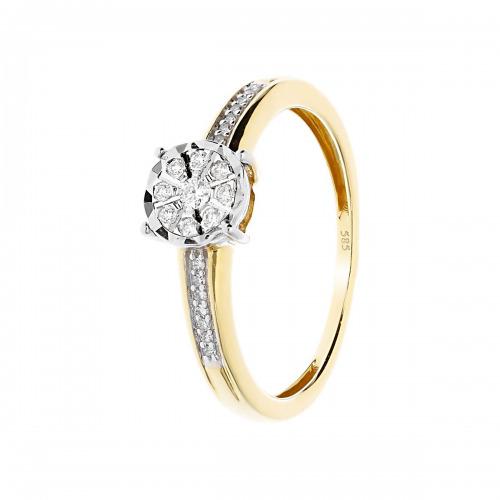 Pierścionek złoty z diamentami 0,10 ct Si/H, I