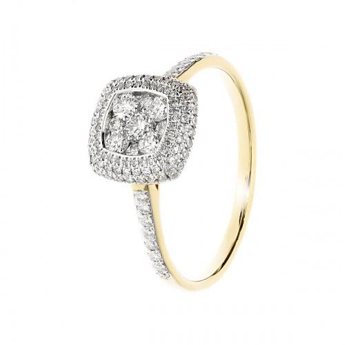 Pierścionek złoty z diamentami 0,60 ct Si/H, I