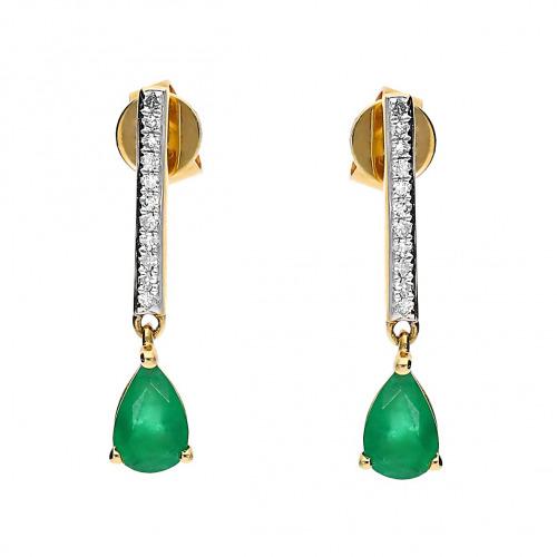 Kolczyki złote ze szmaragdami 0,67 ct i diamentami 0,08 ct Si/H