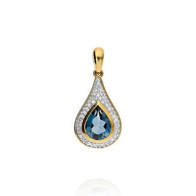 Przywieszka złota z topazem 0,87 ct i diamentami 0,10 ct Si/H
