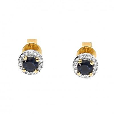 Kolczyki złote z szafirami 0,47 ct i diamentami 0,08 ct Si/H