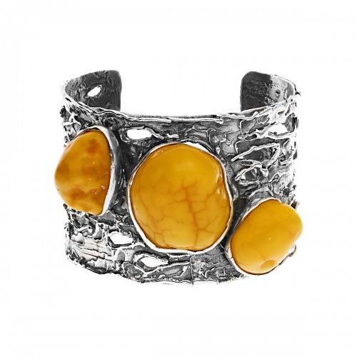 Bransoletka srebrna z bursztynami