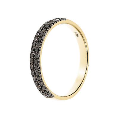 Pierścionek z żółtego złota z czarnymi diamentami