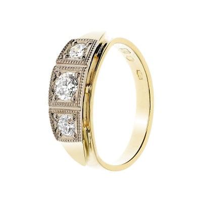 Pierścionek złoty z brylantami 0,52 ct