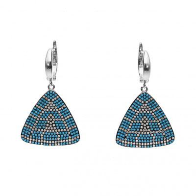 Kolczyki srebrne z turkusami i kryształkami