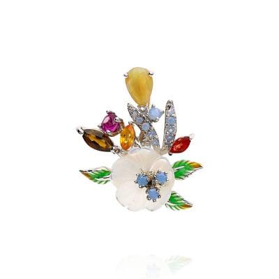 Przywieszka srebrna z granatem, ametystem, kwarcem i masą perłową