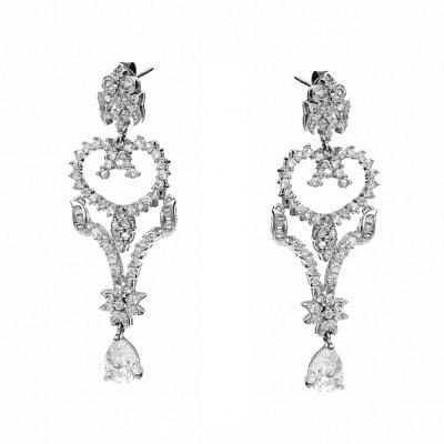 Kolczyki srebrne ażurowe z cyrkoniami