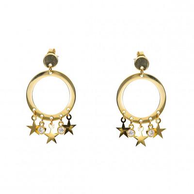 Kolczyki złote koła wiszące gwiazdki