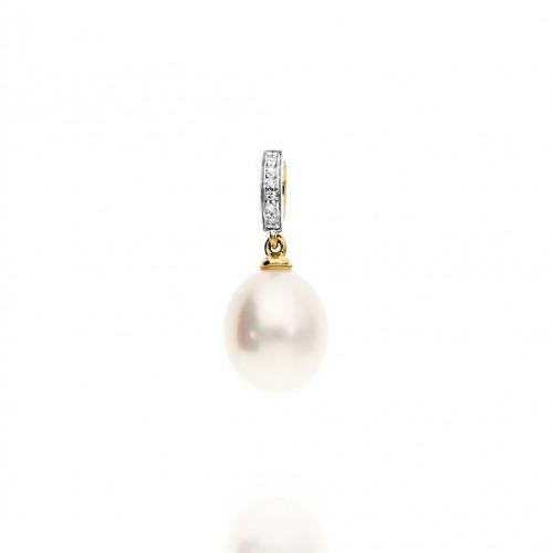 Przywieszka złota z perłą i diamentami