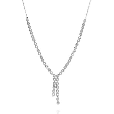 Naszyjnik srebrny łezki z cyrkoniami