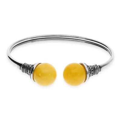 Bransoletka srebrna z żółtym bursztynem
