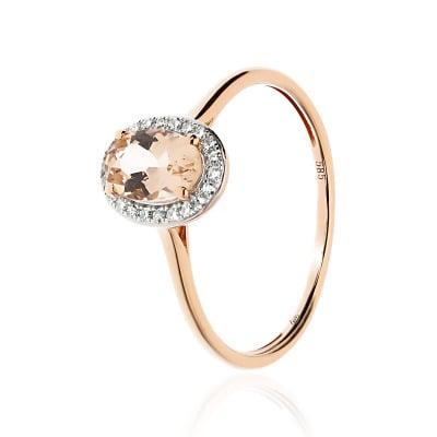 Pierścionek złoty z owalnym morganitem 0,69 ct i diamentami 0,07 ct Si/H