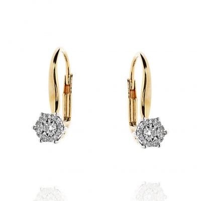 Kolczyki z żółtego i białego złota z diamentami 0,13 ct Si/H