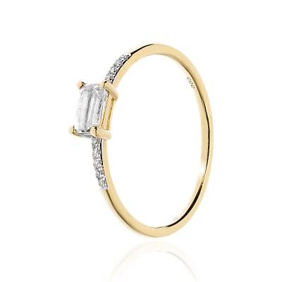 Pierścionek złoty z prostokątnym topazem 0,40 ct i diamentami 0,02 ct Si/H
