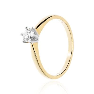 Pierścionek zaręczynowy złoty z brylantem 0,29 ct Si/H
