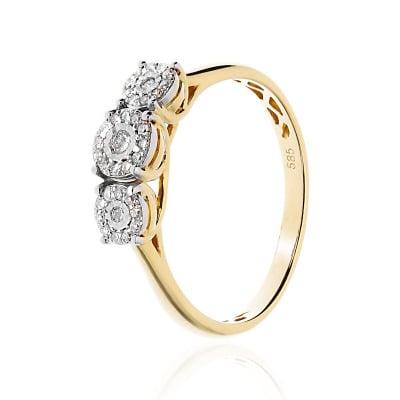 Pierścionek złoty z diamentami 0,17 ct Si/H