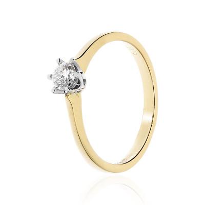 Pierścionek zaręczynowy złoty z brylantem 0,27 ct Si/H