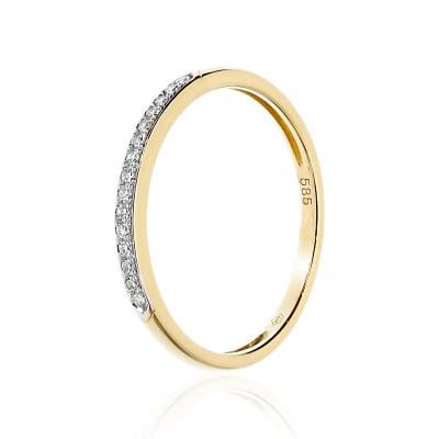 Pierścionek złoty z brylantem 0,06 ct Si/H