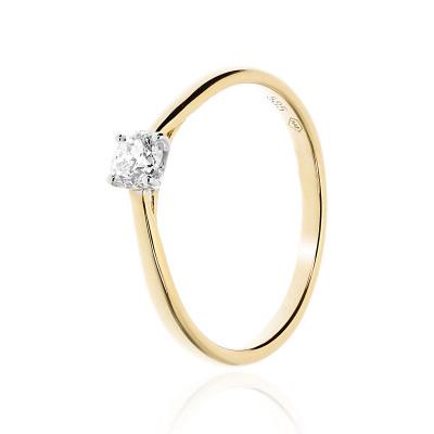 Pierścionek zaręczynowy złoty z brylantem 0,26 ct Si/H