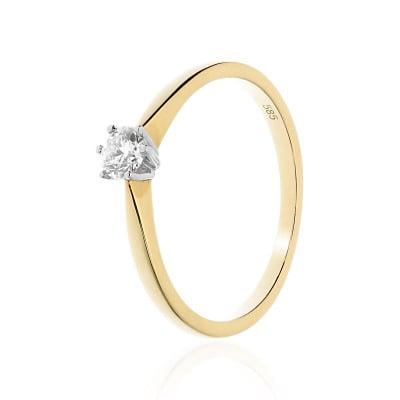 Pierścionek zaręczynowy złoty z brylantem 0,23 ct Si/H