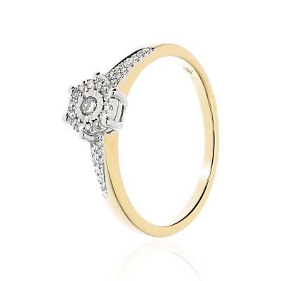 Pierścionek zaręczynowy złoty z diamentami 0,15 ct Si/H