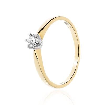 Pierścionek zaręczynowy złoty z brylantem 0,22 ct Si/H