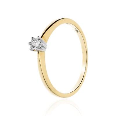 Pierścionek zaręczynowy złoty z brylantem 0,04 ct Si/H