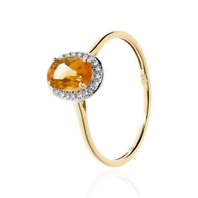 Pierścionek złoty z owalnym cytrynem 0,77 ct i diamentami 0,07ct Si/H