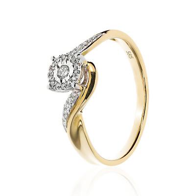 Pierścionekzaręczynowy złoty z diamentami 0,13 ct Si/H