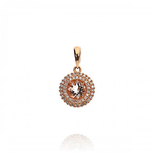 Przywieszka złota z morganitem 0,44 ct i diamentami 0,11 ct Si/H