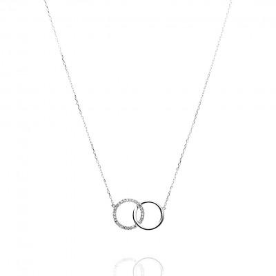 Naszyjnik z bałego złota z diamentami 0,08 ct Si/H