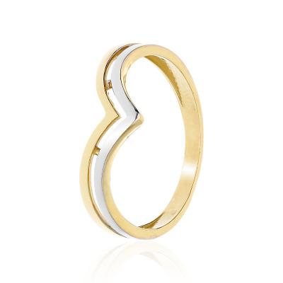Pierścionek z żółtego i białego złota 585 podwójna obrączka
