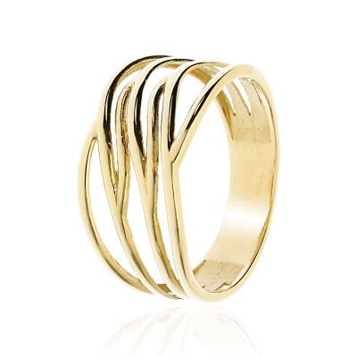 Pierścionek z żółtego złota 585 bezkamieniowy szeroki