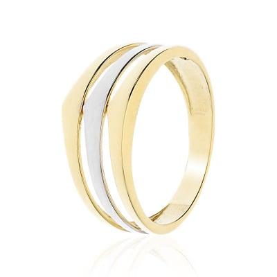 Pierścionek z żółtego i białego złota 585 potrójna obrączka