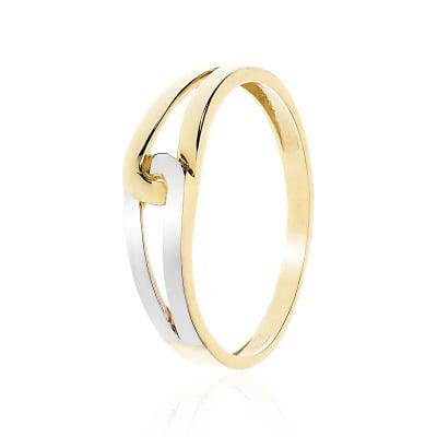 Pierścionek z żółtego i białego złota 585 bezkamieniowy