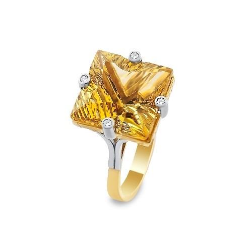 Pierścionek złoty 585 z kwadratowym cytrynem 23,60 ct i  brylantami 0,11 ct