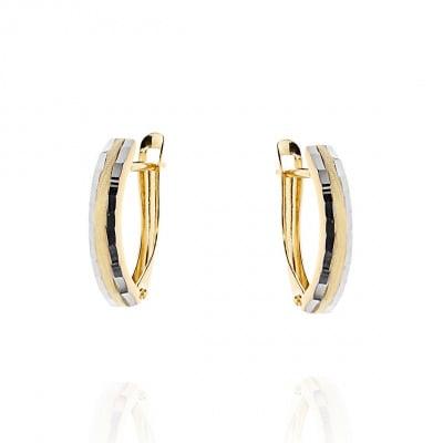 Kolczyki z żółtego i białego złota 585 diamentowane
