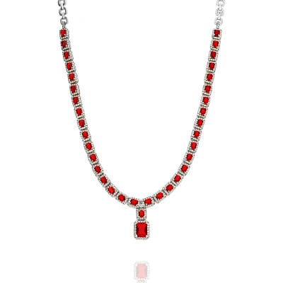 Naszyjnik srebrny kolia z czerwonymi i białymi cyrkoniami