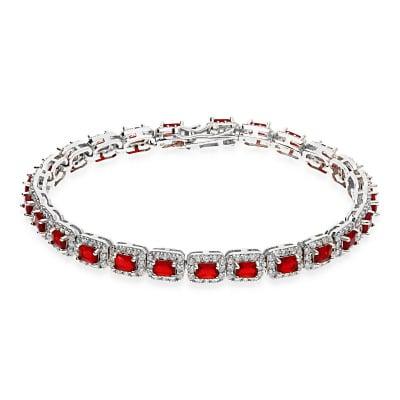 Bransoletka srebrna z czerwonymi i białymi cyrkoniami
